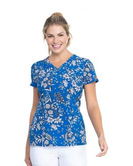 Dickies Bright Like A Daisy V-Neck Print Scrub Top