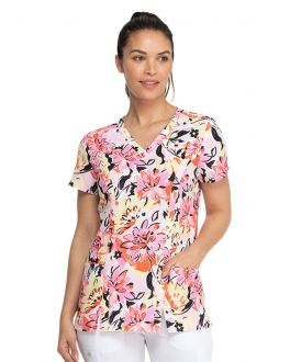Dickies Brilliantly In Bloom V-Neck Print ScrubTop