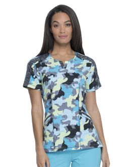 Dickies Dynamix Women's Totally Textured Camo Shaped V-Neck Print Scrub Top