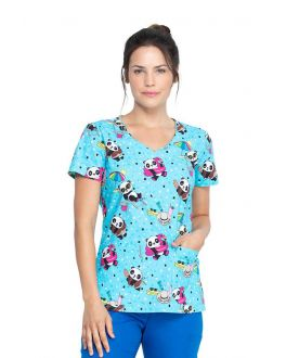 Dickies Hello Sunshine Panda V-Neck Print Scrub Top