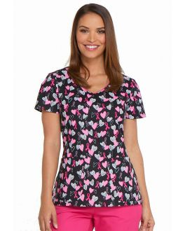 Dickies Hope In My Heart V-Neck Print Scrub Top