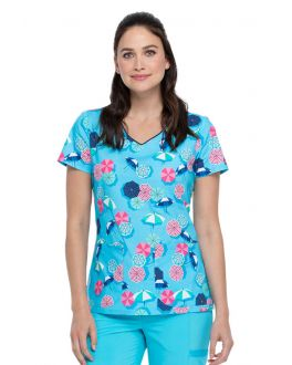 Dickies Made In The Shade V-Neck Print Scrub Top