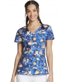 Dickies Sun's Out Fun's Out V-Neck Print Scrub Top
