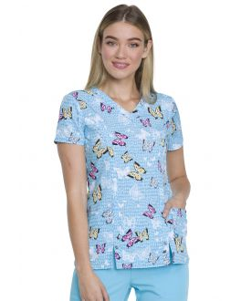 Dickies Let's Butterfly Away V-Neck Print Scrub Top