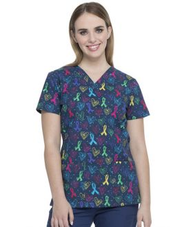 Dickies EDS Women's Love For All V-Neck Print Scrub Top