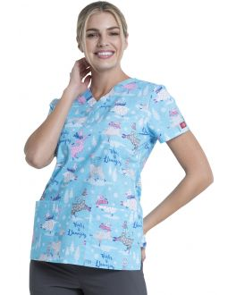 Dickies Winter Is Llamazing V-Neck Print Scrub Top