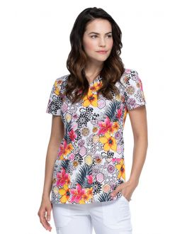 Dickies Leopard Jungle V-Neck Print Scrub Top