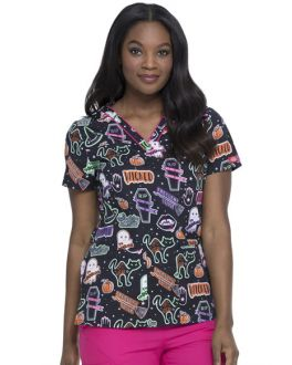 Dickies EDS Women's Witchy Woman V-Neck Print Scrub Top