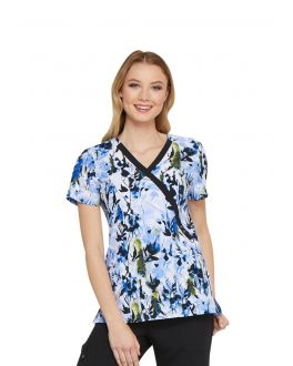 Dickies Brush With Beauty Mock Wrap Print Scrub Top
