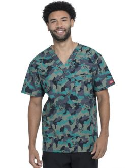 Dickies EDS Men's Crosshatch Camo V-Neck Print Scrub Top