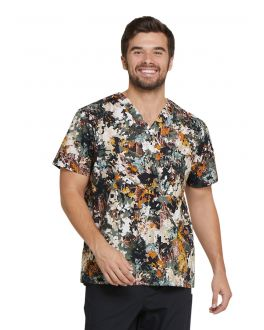 Dickies Great Outdoors Men's V-Neck Print Scrub Top