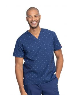 Dickies Lucky U Men's V-Neck Print Scrub Top