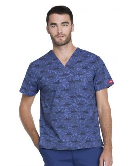 Dickies Shark Week Men's V-Neck Print Scrub Top