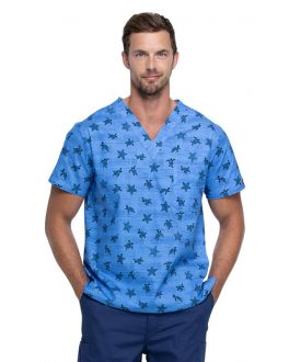 Dickies Sea Life Men's V-Neck Print Scrub Top