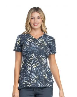 Dickies Fractured Flutter V-Neck Print Scrub Top