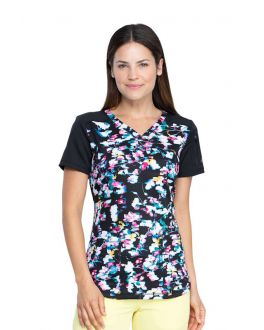 Dickies Floral In Motion V-Neck Print Scrub Top