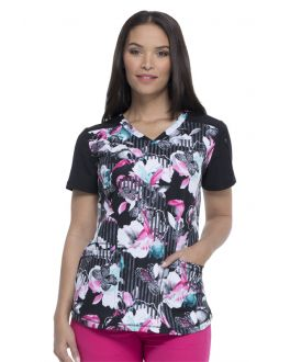 Dickies Dynamix Women's Midnight Tropic V-Neck Print Scrub Top
