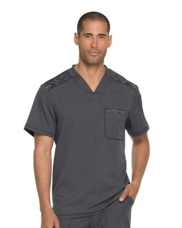 Dickies Dynamix Scrubs Men's Mélange Contrast V-Neck Top