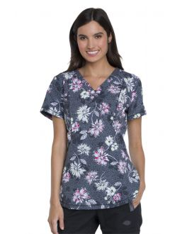 Dickies Bursting Blooms V-Neck Print Scrub Top