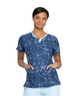 Dickies Crackle Me Up Shaped V-Neck Print Scrub Top