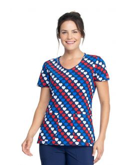Dickies Americana Hearts V-Neck Print Scrub Top