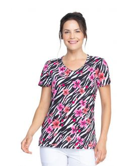 Dickies Stripes And Posies V-Neck Print Scrub Top