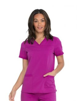 Dickies Balance Scrubs Women's V-Neck Top With Rib Knit Panels