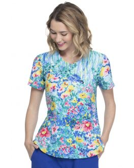 Elle Hand Painted Posies V-Neck Print Scrub Top