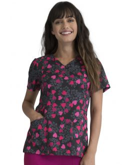 Elle Loving Heart V-Neck Print Scrub Top