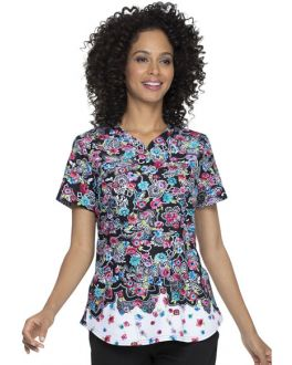 Elle Decorative Daisies Shaped V-Neck Print Scrub Top