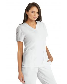 Grey's Anatomy Signature Scrubs Women's 3 Pockets V-Neck Laced Sleeve Top