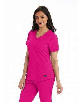Grey's Anatomy Scrubs Spandex Stretch V-Neck 4 Pockets Top