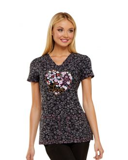 HeartSoul Floral Ever In My Heart V-Neck Print Scrub Top