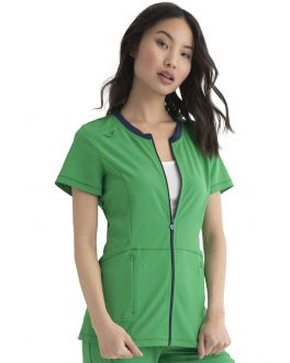 Heartsoul Medical Scrubs Kelly Green Women Zip Front Top