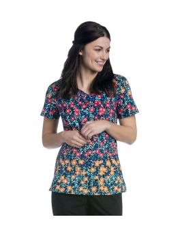 Urbane Women's Diamond Neck Bloom Printed Scrub Top