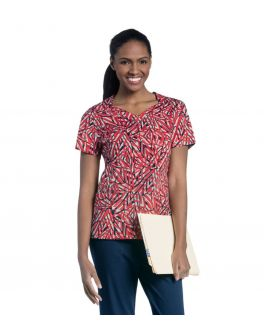 Urbane Women's Diamond Neck Sunkissed Haze Printed Scrub Top