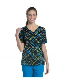 Landau Urbane Women's Sweetheart Neck Printed Scrub Top