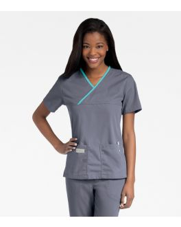 Urbane Scrubs Women's Double Pocket Crossover Top