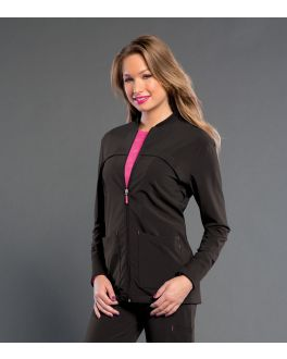 Smitten Scrubs Women's Zip Front With Rib Detail Jacket