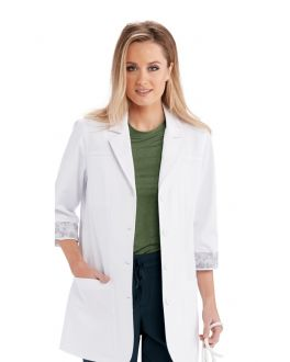 "Barco One Scrubs Team Women's White 30 "" 3 Quarters Sleeve Lab Coat"