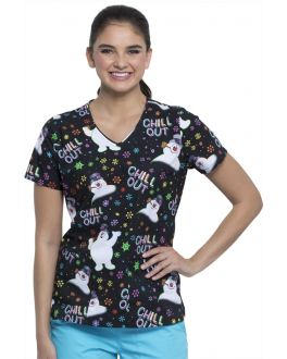 Tooniforms Women's Chill Out V-Neck Print Scrub Top