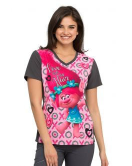 Tooniforms Love Is In The Hair V-Neck Print Scrub Top