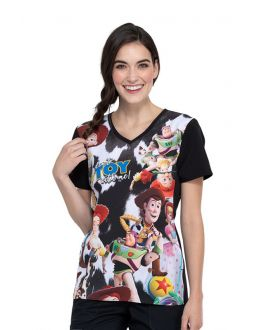 Tooniforms Don't Toy With Me V-Neck Print Scrub Top