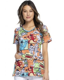 Tooniforms Street Adventures V-Neck Print Scrub Top