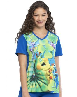 Tooniforms Heimlich Maneuver V-Neck Print Scrub Top