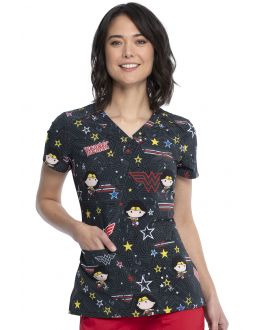 Tooniforms Be Heroic V-Neck Print Scrub Top