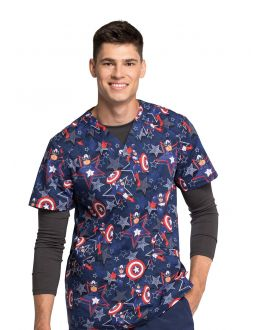 Tooniforms Star Power Men's V-Neck Print Scrub Top