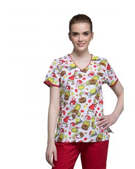 Tooniforms Grinch-Cake V-Neck Print Scrub Top