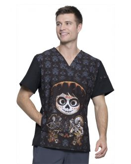 Tooniforms Men's Disney - Pixar Coco V-Neck Print Scrub Top