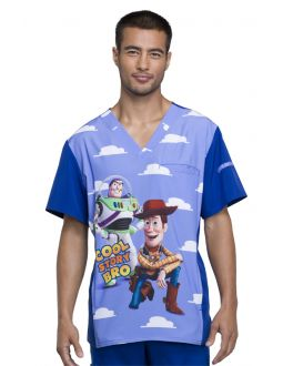 Tooniforms Cool Story Men's V-Neck Print Scrub Top